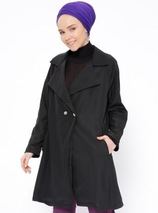 Black – Unlined – Shawl Collar – Trench Coat – Peramood