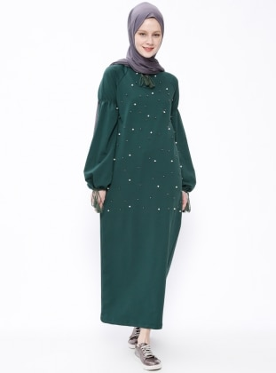 Green - Crew neck - Unlined - Dresses - Moonlight