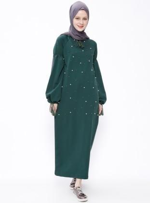 Green - Crew neck - Unlined - Dresses - Moonlight