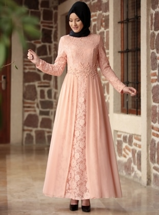Crew neck - Fully Lined - Powder - Muslim Evening Dress