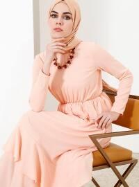 Beli Lastikli Elbise - Pudra - Refka