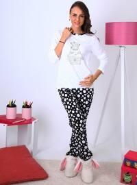 Caty Pijama Takımı - Beyaz - Meliana