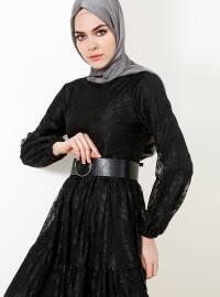 Dantelli Elbise - Siyah - Refka