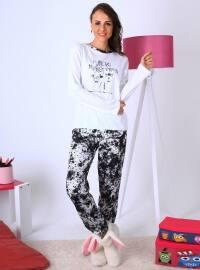 Doğa Pijama Takımı - Beyaz - Meliana