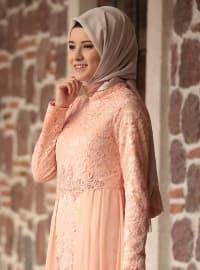 Crew neck - Fully Lined - Powder - Muslim Evening Dress