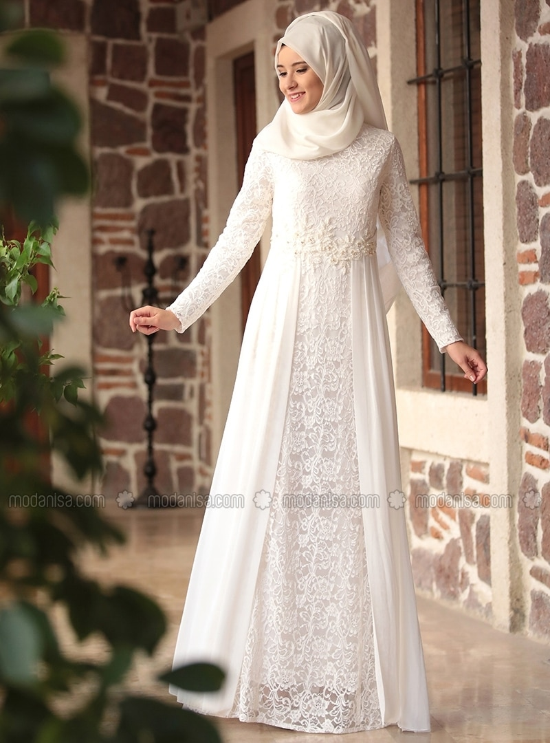 Crew neck - Fully Lined - Ecru - Muslim Evening Dress