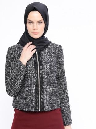 Fermuarlı Ceket - Siyah - Armine Ürün Resmi