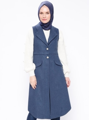 Blue - Unlined - Shawl Collar - Vest