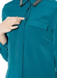 Petrol - Point Collar - Blouses