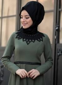 Green - Unlined - Crew neck - Dresses