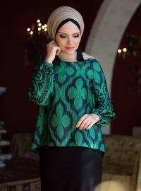 Lale Bluz - Zümrüt Yeşil - Muslima Wear