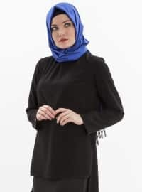 Black - Polo neck - Plus Size Blouse