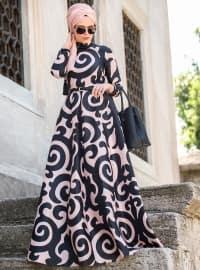 Silkway Elbise - Siyah Pudra - Muslima Wear