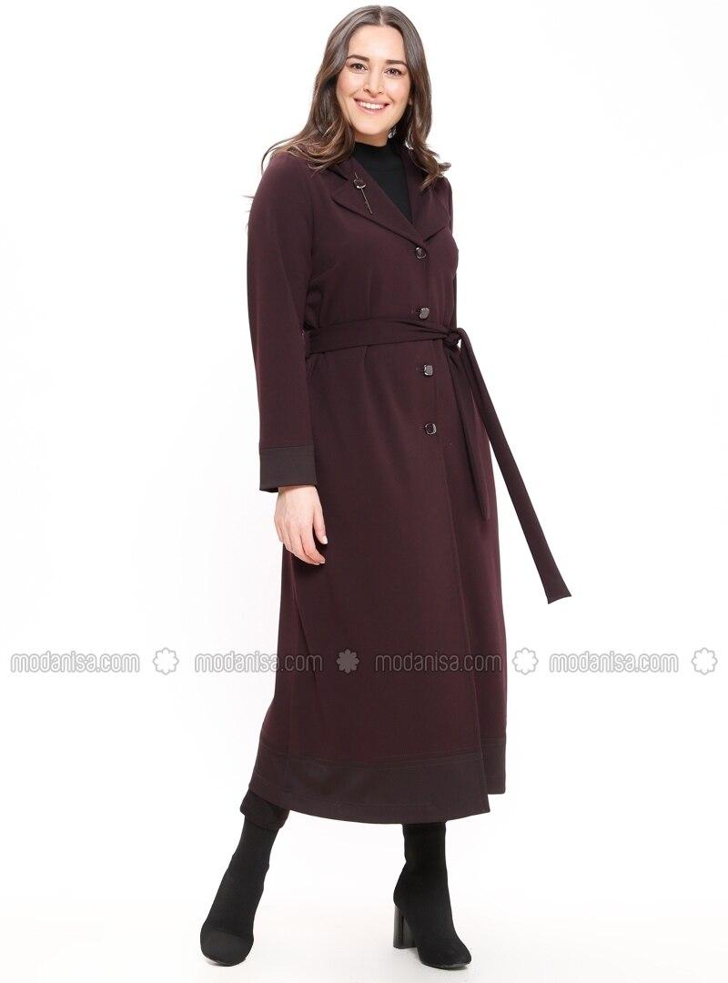 Shawl Collar - Unlined - Purple - Plus Size Coat