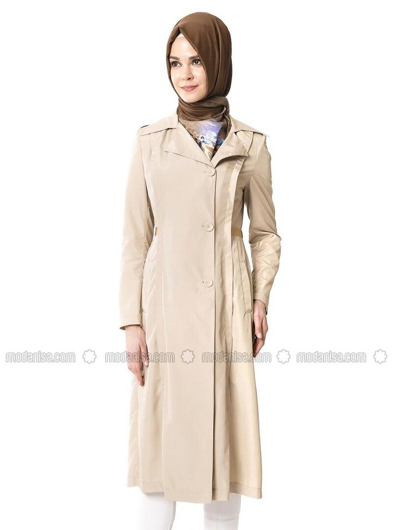 Beige - Shawl Collar - Topcoat