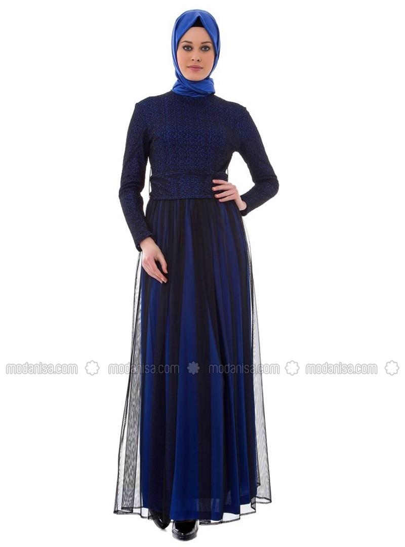 royalblau rundhalsausschnitt hijab kleid armine. Black Bedroom Furniture Sets. Home Design Ideas