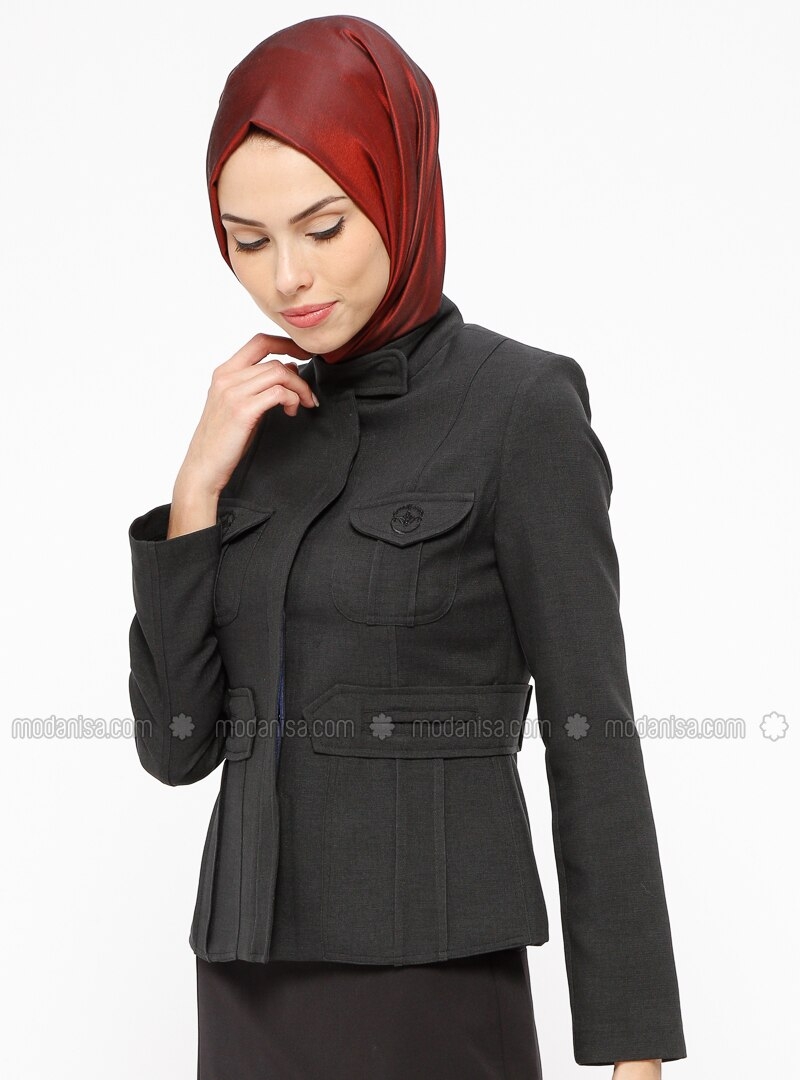 Black - Fully Lined - Button Collar - Jacket