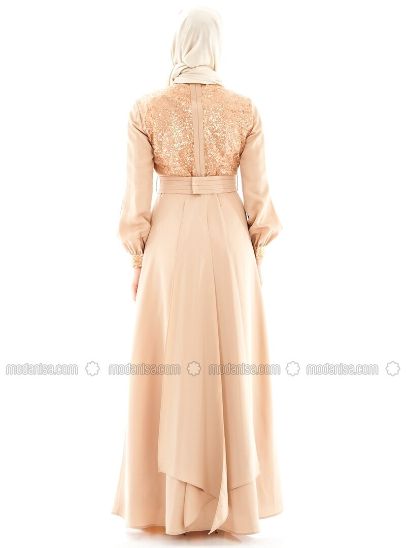 Beige col chinois robe de soiree armine for Robe col chinois