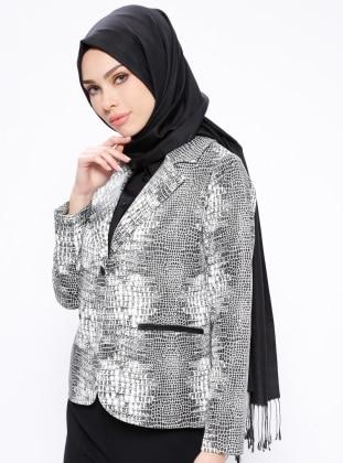 Black - Ecru - Multi - Fully Lined - Shawl Collar - Jacket