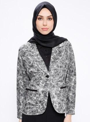 Ecru - Multi - Fully Lined - Shawl Collar - Jacket