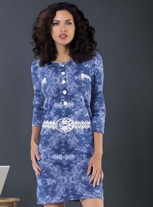 Blue - Multi - Crew neck - Nightdress