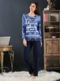 Pamuklu Likralı Pijama Takımı - Lacivert - Miamisenza