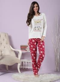 Pamuklu Likralı Pijama Takımı - Ekru - Miamisenza