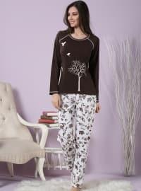 Pamuklu Likralı Pijama Takımı - Kahverengi - Miamisenza