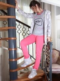 3`lü Sabahlıklı Polar Pamuklu Pijama Takımı - Pembe Gri - Siyah inci