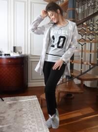 3`lü Sabahlıklı Polar Pamuklu Pijama Takımı - Siyah Gri - Siyah inci