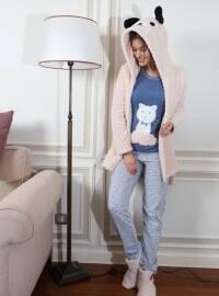 3`lü Sabahlıklı Wellsoft Pamuklu Pijama Takımı - Pudra Mavi - Siyah inci