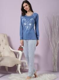 Pamuklu Likralı Pijama Takımı - Mavi - Miamisenza