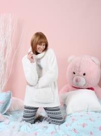 Taytlı Wellsoft Pijama Takımı - Beyaz Gri - Siyah inci