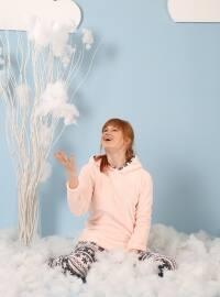 Taytlı Wellsoft Pijama Takımı - Pembe Gri - Siyah inci