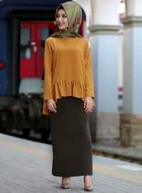Volanlı Bluz - Hardal - Cool Vera