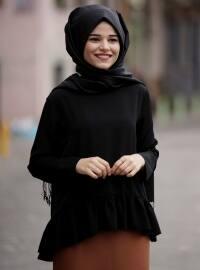 Volanlı Bluz - Siyah - Cool Vera