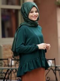 Volanlı Bluz - Yeşil - Cool Vera