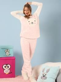 Wellsoft Pijama Takım Pudra - Siyah inci