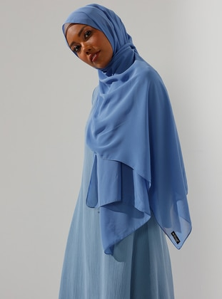 Blue - Plain - Crepe - Shawl