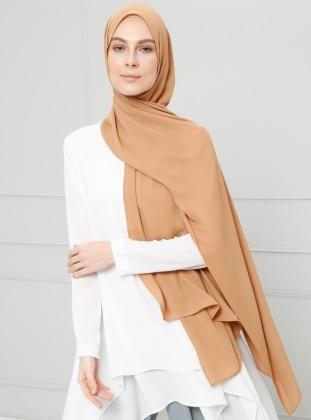 Gold - Plain - Crepe - Shawl -  Şal