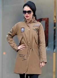 Kapüşonlu Tarz Mont - Camel - Selma Sarı Design