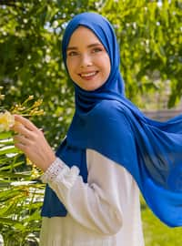 Blue - Plain - Crepe - Shawl - Şal