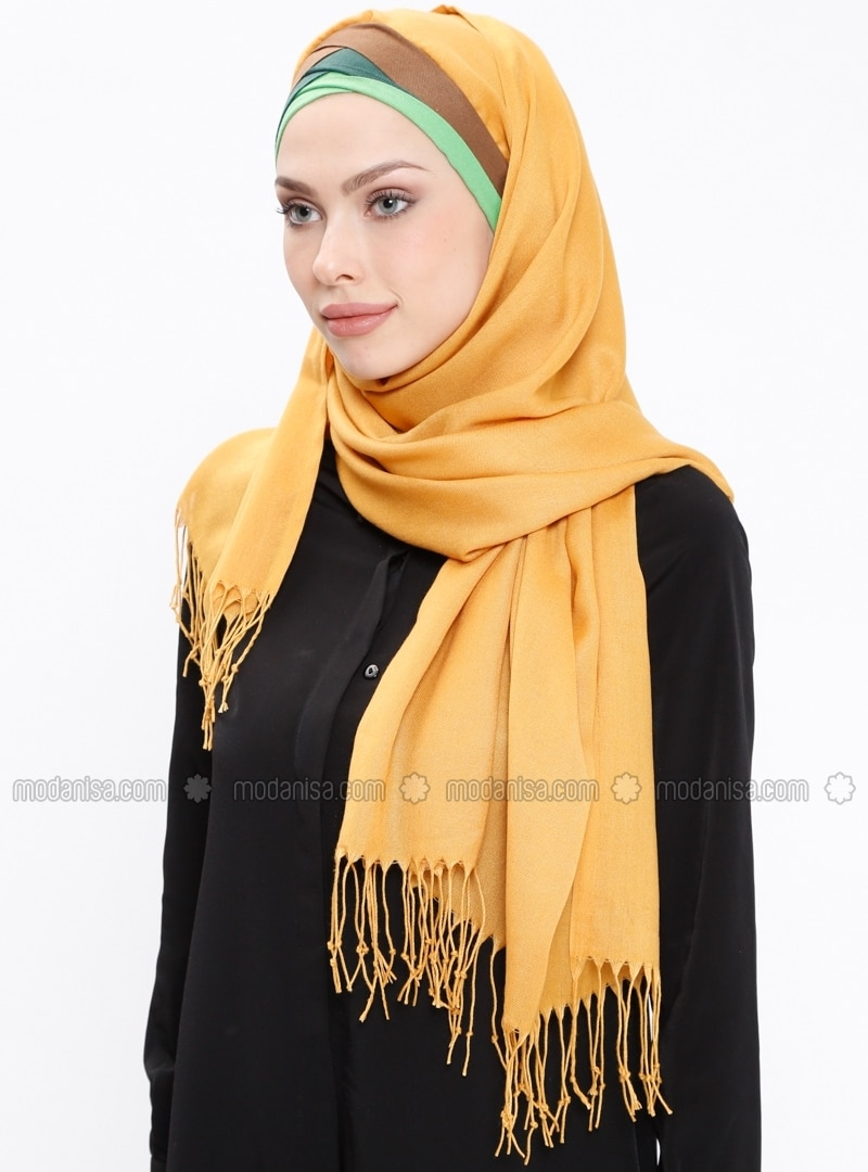Yellow - Plain - Fringe - Pinless - Instant Scarf