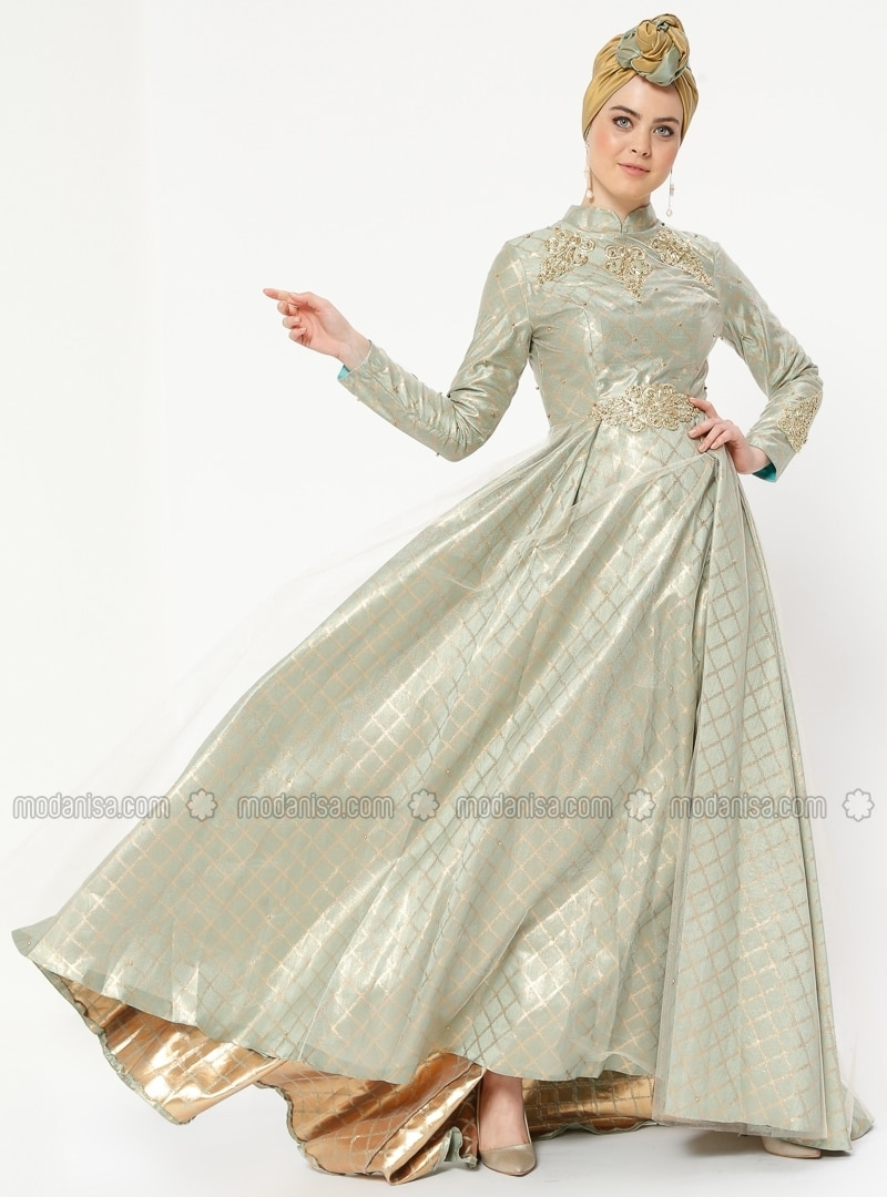 7ccdf3056dd Mint - Fully Lined - Crew neck - Muslim Evening Dress