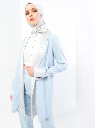 Blue - Lamé - Floral - Unlined - Shawl Collar - Jacket