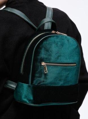 Pnk Kadife Sırt Çanta - Yeşil