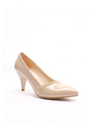 topuklu ayakkabı - bej rugan - b.f.g polo style