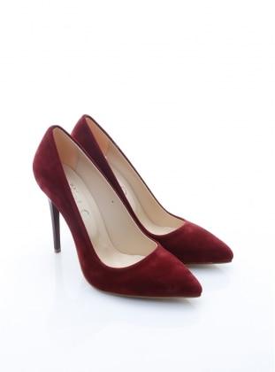 topuklu ayakkabı - bordo süet - b.f.g polo style