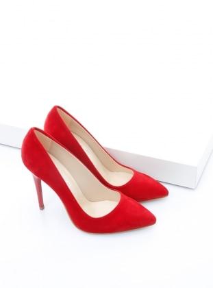 topuklu ayakkabı - kırmızı süet - b.f.g polo style