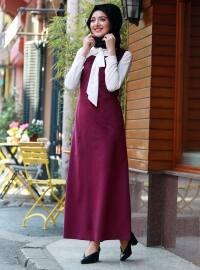 Askılı Kadife Elbise - Fuşya - Gamze Özkul